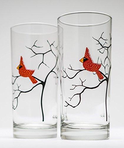 Christmas Cardinal Glassware - 16 oz Drinking Glasses Christmas Glasses Holiday Hosting Red Birds