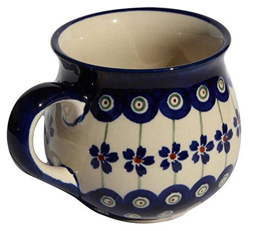 Polish Pottery Mug 8 Oz From Zaklady Ceramiczne Boleslawiec 1452-166a Floral Peacock Pattern Capacity 8 Oz
