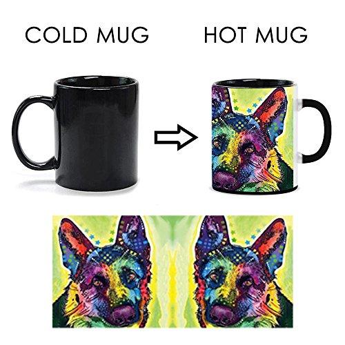 CafeTime German Shepherd Heat Activated Mugs Fashion Color Changed Magic Mug Art Dog Custom Coffee Tea Cup Good Gift Animals Ceramics Cups 11OZ