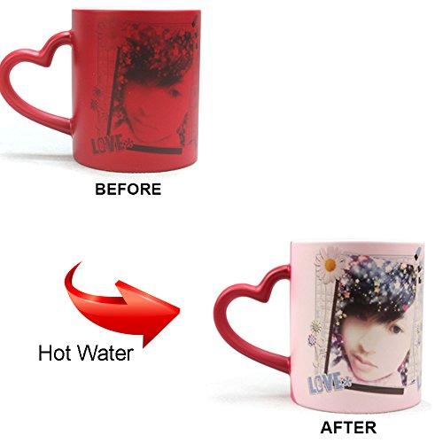 SPSCO 11oz Personalized Magic Mug Custom Magic Photo Mug Color Changing Mug with Heart shape handle Red