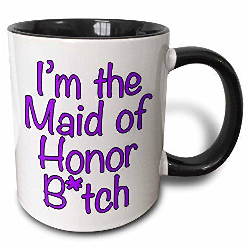 3dRose mug_178117_4 Im the maid of honor btch Purple Two Tone Black Mug 11 oz BlackWhite