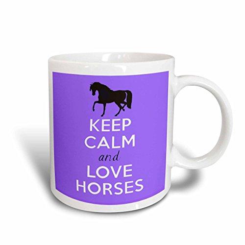 3dRose mug_193616_1 Keep Calm and Love Horses Purple Ceramic Mug 11 oz White