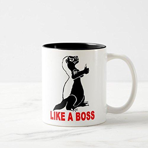 Zazzle Honey Badger Like a Boss Coffee Mug Black Two-Tone Mug 11 oz