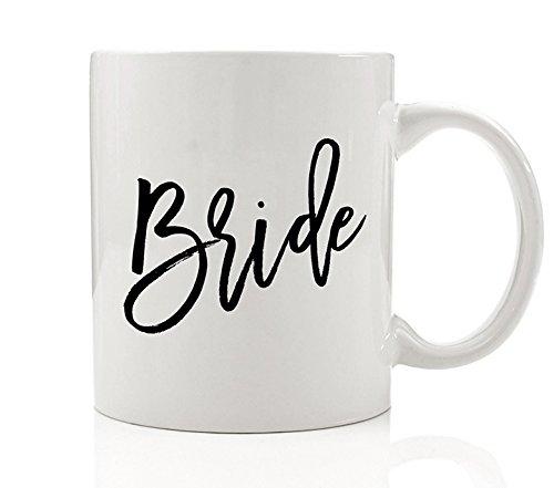 Calligraphy Bride Mug 11 oz Coffee Mug Black White Bride Coffee Mug Wedding Coffee Cups Hand Lettered Bridal Party Gifts DM0017