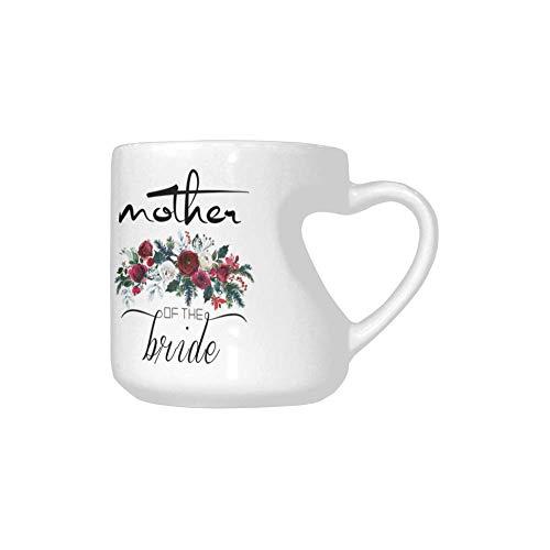 Mother of the Bride Coffee Mug Heart-shaped Mug Ceramic Mugs - Tea Cup Funny Mug Gift Mug 103 ozWhite