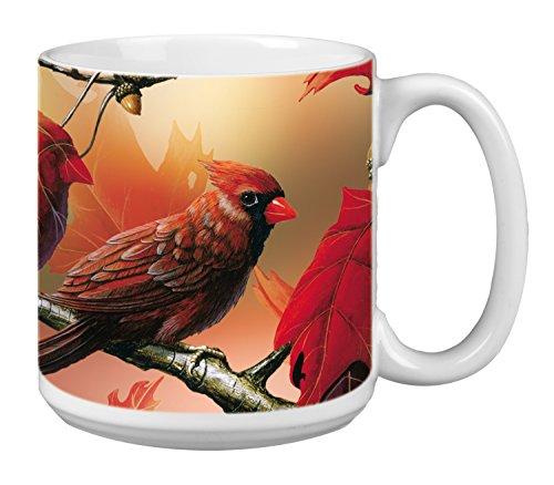 Cardinal Bird Extra Large Mug 20-Ounce Jumbo Ceramic Coffee Cup Seasons Change Themed Birds Art - Gift for Bird Lover XM29508 Tree-Free Greetings