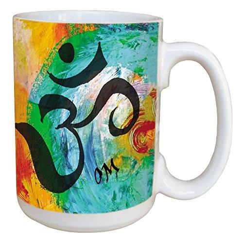 Sansaara Om Sanskrit Coffee Mug - Large 15-Ounce Ceramic Cup Full Handle - Yoga Spiritual New Age inspirational Gifts - Tree-Free Greetings 45490