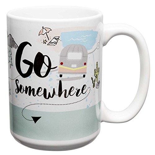 Zak Designs Adventurer Large Ceramic Mug Go Somewhere 15 oz Capacity