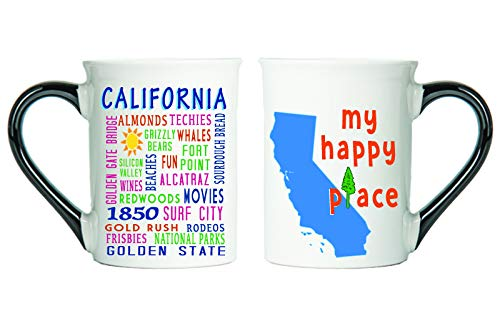 Cottage Creek - California State Coffee Mug With State Description On The Back - California My Happy Place Coffee Cup Large 18 Oz California Map Mug Unique Coffee Mugs