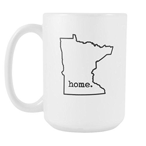 State of Minnesota Coffee Mug - MN State Home Outline Ceramic Coffee Cup - White - 15oz