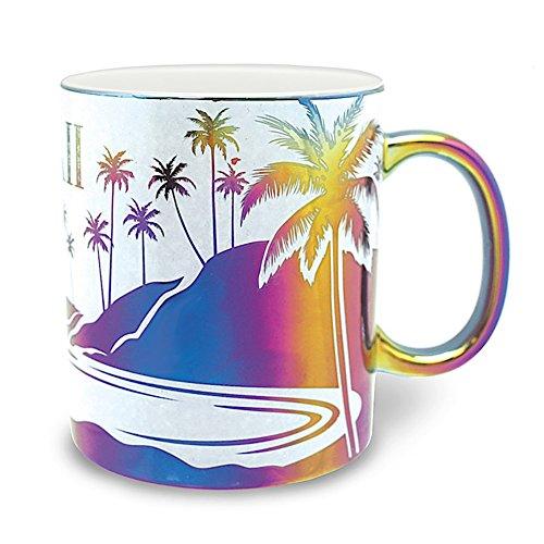 2 Pack Hawaiian Coffee Mugs 14 oz Electroplated Island Rainbow