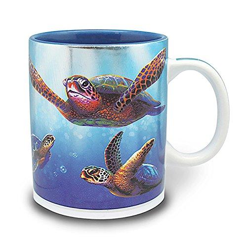 2 Pack Hawaiian Coffee Mugs 14 oz Turtles In Light