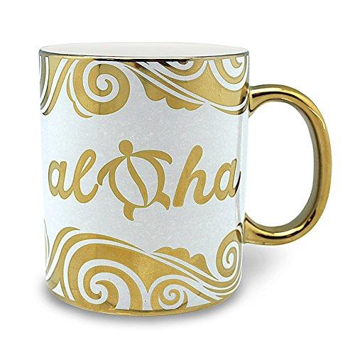 4 Pack Hawaiian Coffee Mugs 14 oz Electroplated Aloha Honu Turtle Gold