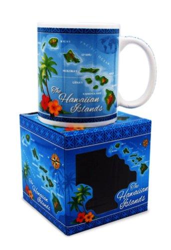 Hawaiian Coffee Mugs 2 Pack Islands Map Blue