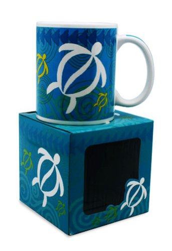 Hawaiian Coffee Mugs 2 Pack Swirling Honu