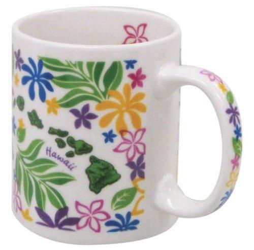 Hawaiian Coffee Mugs 4 Pack Island Chain Floral