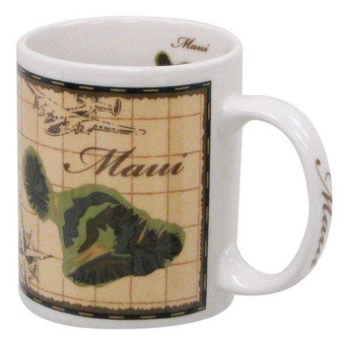 Hawaiian Coffee Mugs 4 Pack Maui Map