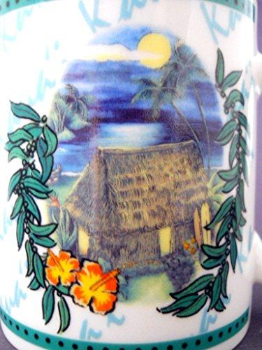 Hilo Hattie Hawaiian Coffee Mug 2002 Oceanfront Grass Hut Bright Moon Palm Trees
