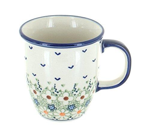Blue Rose Polish Pottery Green Daisy Coffee Mug
