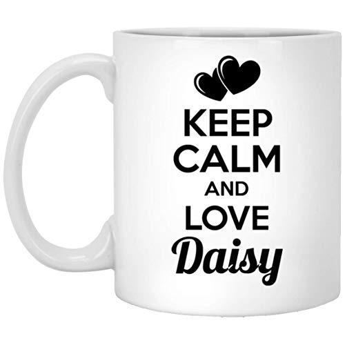 Personalized Christmas Mug for Daisy - Keep Calm and Love Daisy Coffee Mug - Anniversary Birthday Gifts for Men Women On Christmas 11Oz White tea cup