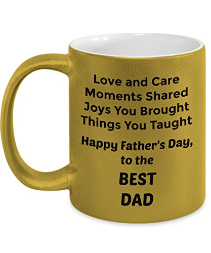 Abba eShop Mugs- Best Dad Unique Cool Custom Coffee Tea Cup -Silver or Gold Metallic Ceramic Mug With Handle - 11 ounce Size Printed on Both Sides - Happy Fathers Day Gift For Dad