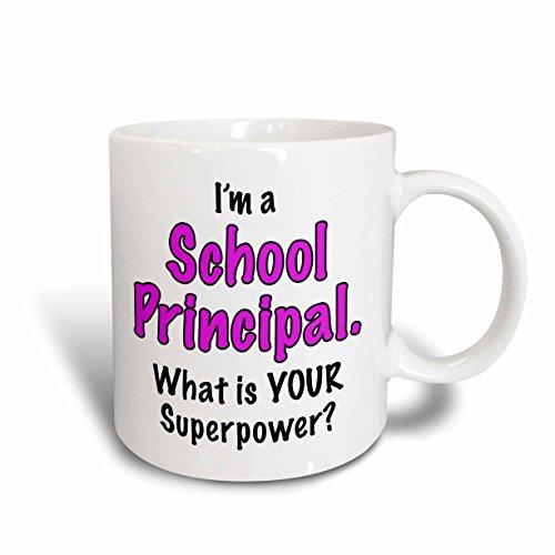3dRose 3dRose Im a school principal what is your superpower Pink - Ceramic Mug 15-ounce mug_193266_2  White
