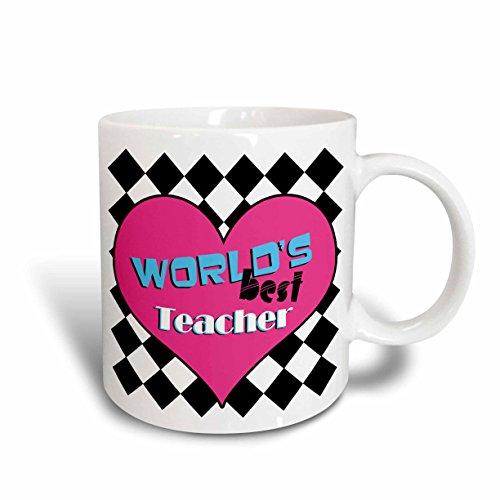 3dRose Worlds Best Teacher Pink Ceramic Mug 15-Ounce
