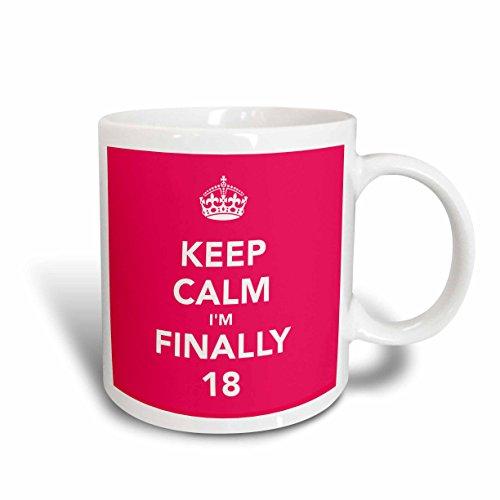 3dRose mug_163837_2 Keep Calm Im Finally 18 Happy 18Th Birthday Pink Ceramic Mug 15-Ounce