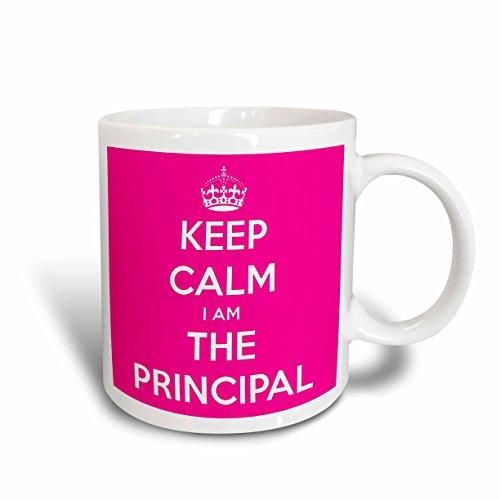 3dRose mug_216311_1 Keep Calm I am The Principal Pink Ceramic Mug 11 oz White
