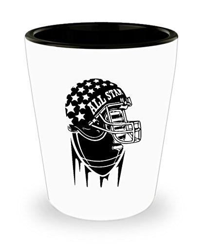 Allstar Helmet Football Shot Glass Sayings - Football Fan Shot Glasses Gifts