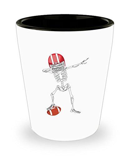 Dabbing Skeleton Football Shot Glass Sayings - Football Fan Shot Glasses Gifts