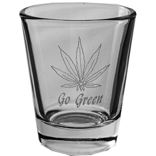 2oz Pot Leaf Go Green Shot Glass