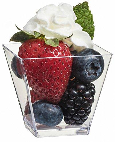 500 2 oz Clear Dessert Glasses Mini Square Dessert Cups Appetizer Bowls Shot Glasses Party Disposable Plastic Cups