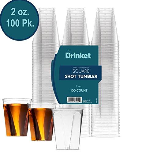 DRINKET CLEAR PLASTIC SHOT GLASSES 2 Oz - Disposable Shot Glasses Bulk - Wine Tasting Cups - Small Plastic Tumbler - Square Shooter Whiskey Mini Shot Cups - small plastic cups bulk - 100 Pack