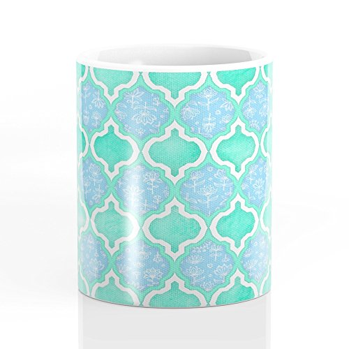 Society6 Moroccan Aqua Doodle Pattern In Mint Green Blue White Mug 11 oz