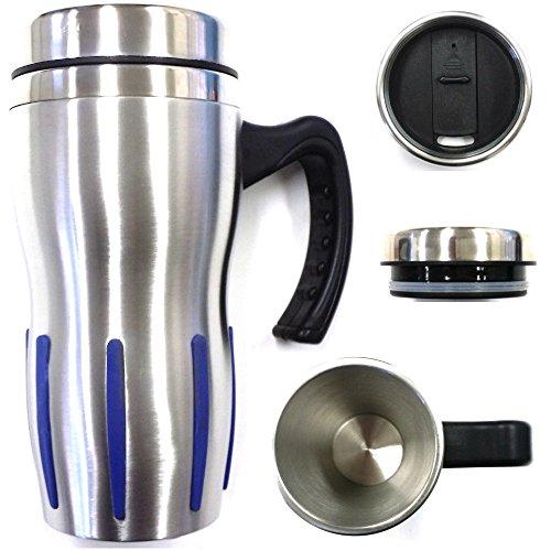 Travel Coffee Mug Silblue Double Wall Stainless Steel Insulated Coffee Cup Travel Mug Whandle Travel Mug