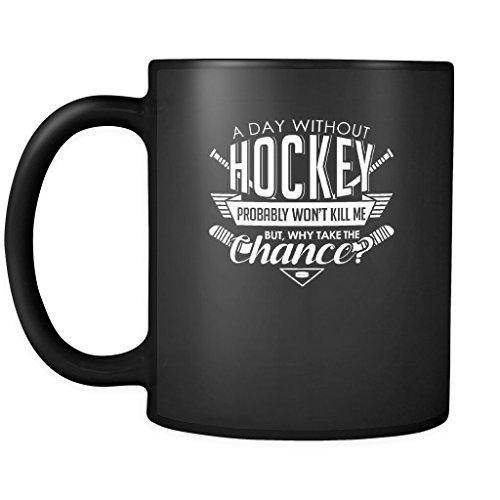 Funny Hockey Coffee Mug For Men and Women Sports - 11oz Black Ceramic Mug Tea Cup