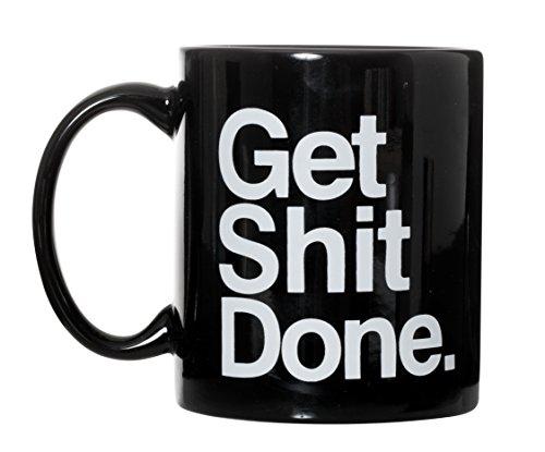 Get Shit Done Motivational Black Ceramic Coffee Mug