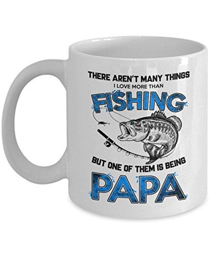 Kiwi Styles Fishing Coffee Mug - I Love Fishing Ceramic Coffee Mug Cup - There Arent Many Things I Love More Than Fishing Papa  Best Birthday Christmas Gift For Fishing Lover Dad - 11 Oz White