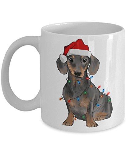 Kiwi Styles Funny Dog Ceramic Coffee Mug Cup - Dachshund Dog Lights  Best Christmas Birthday Gift For Dog Lovers Grandpa Dad Mom Boy - 11 Oz White