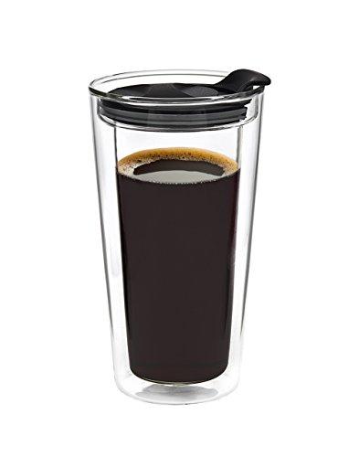 Glass Travel Mug Tumbler Double Wall Cup For CoffeeTea - 12oz