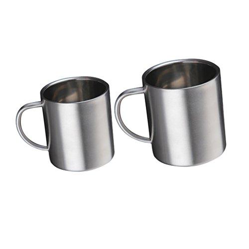 MonkeyJack Coffee Mugs Stainless Steel Double Wall Insulated Coffee Mug Food Grade Tea Cups Set of 2 300ml 400ml