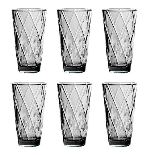 25 oz Diamond Pattern Acrylic Plastic Tumblers Set of 6 BPA Free - Grey