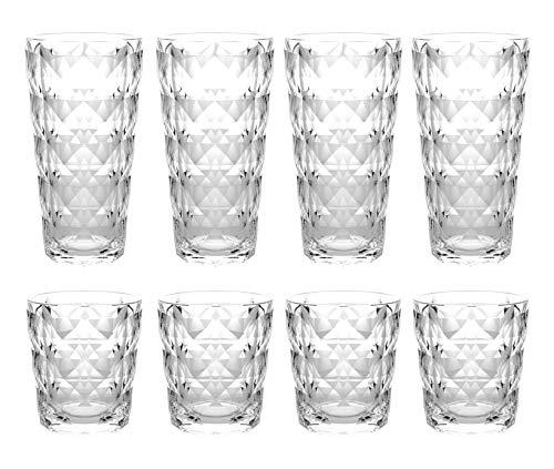 QG 13 22 fl oz Diamond Cut Pattern Clear Acrylic Plastic Tumbler Set of 8
