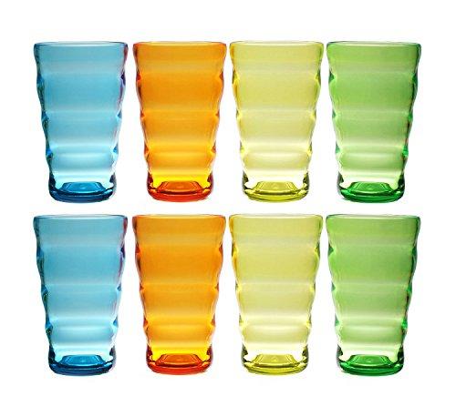 QG Set of 8 Break-Resistant Acrylic 25 oz Colorful Wavy Iced Tea Cup Plastic Tumbler Set in 4 Assorted Colors 88351-4C