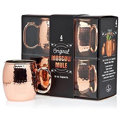 Jackys Original Handmade Copper Moscow Mule Mug Gift Set of 4 20 Oz Mugs Free Recipe Book Included
