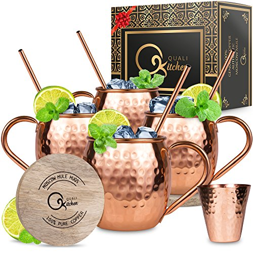 Moscow Mule Copper Mugs Set  4 16 oz Solid Genuine Copper Mugs Handmade in India 4 Straws 4 Wood Coasters Shot Glass  Comes in Elegant Gift Box by Qualikitchen