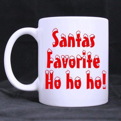 11oz Christmas Xmas Mugs Santa Clause ¨C Santa Favorite Ho White Ceramic Coffee Mugs Cup - Merry Family Vacation Great Gift Item for Christmas
