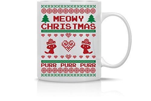 Meowy Christmas Purr - Merry Christmas Funny Cat Mug - 11OZ Coffee Mug - Holiday Mugs – Cute Xmas Mug Funny Christmas Mug - Perfect Gift for the Holidays- By AW Fashions