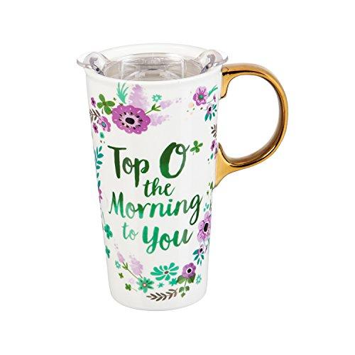 Cypress Home Top O The Morning Saint Patricks Day Ceramic Travel Coffee Mug with Gift Box 17 ounces